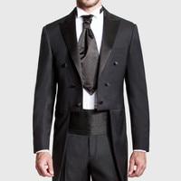 Custom Made Black Groom Tailcoat Pant Suit Peaked Lapel Long Tail Men Wedding Suits Bridegroom Best Groomsmen Wedding Tuxedos