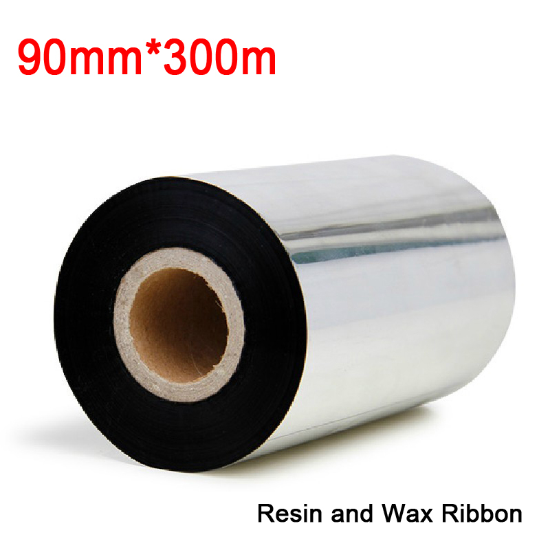 3.54 inch *984.5ft (90mm*300M) (2pcs/lot) resin and wax ribbon for Label & barcode printer to print transfer labels 2pcs ft b8
