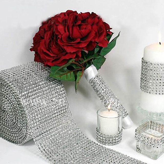 10 yard Mesh Trim Diamond Wrap Roll Sparkle Rhinestone Looking Silver Ribbons Party Wedding Decoration event party supplies