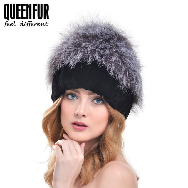QUEENFUR Real Knitted Rex Rabbit Fur Hat With Large Natural Silver Fox Fur Top Beanies 2016 Winter New Warm Thick Rabbit Fur Cap