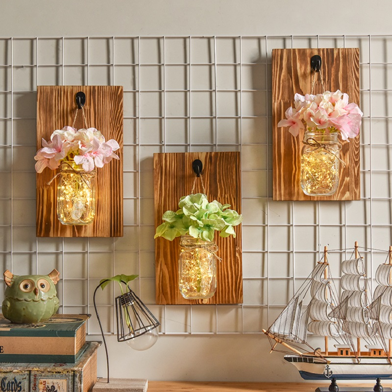 Artificial Flower Wall Light Mason Jar