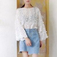 Fashion Shirt Women See Through Flare Sleeve Flower Lace Blouse Women S Long Sleeve Shirts Blouse