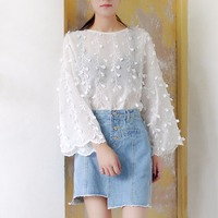 Fashion Shirt Women See Through Flare Sleeve Flower Lace Blouse Women S Long Sleeve Shirts Blouse
