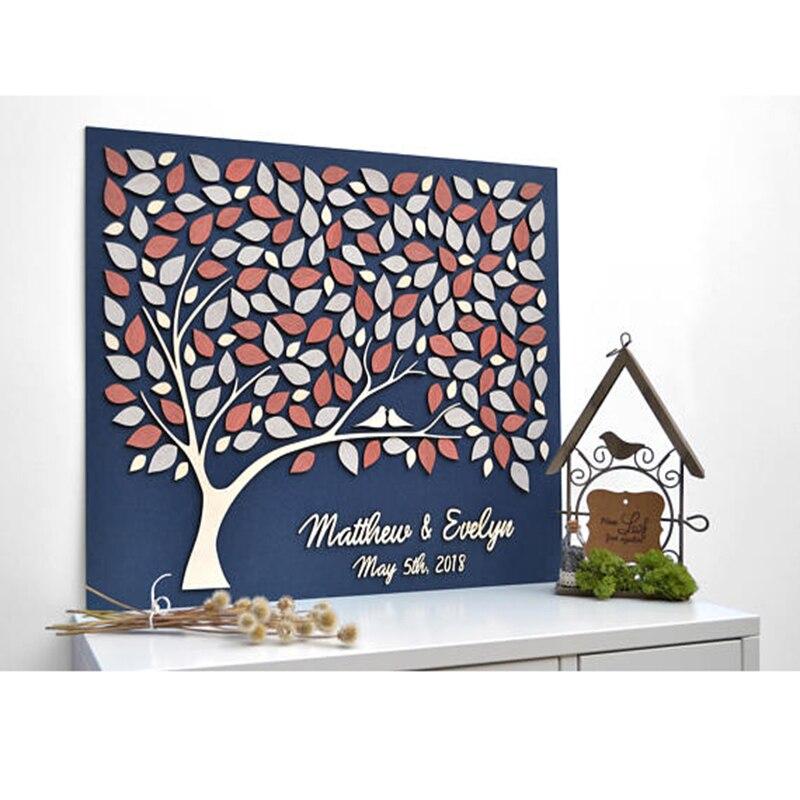 Custom Wedding Guest Book Alternative Wood Personalized: Personalized 3D Wedding Guest Book Tree, Alternative Wood
