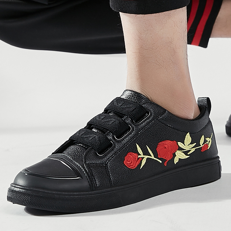 VIPBQO 2018 Fashion Lightweighted PU Material Rose Casual Shoes Sneakers Walking Shoes Running Shoes Black/Red