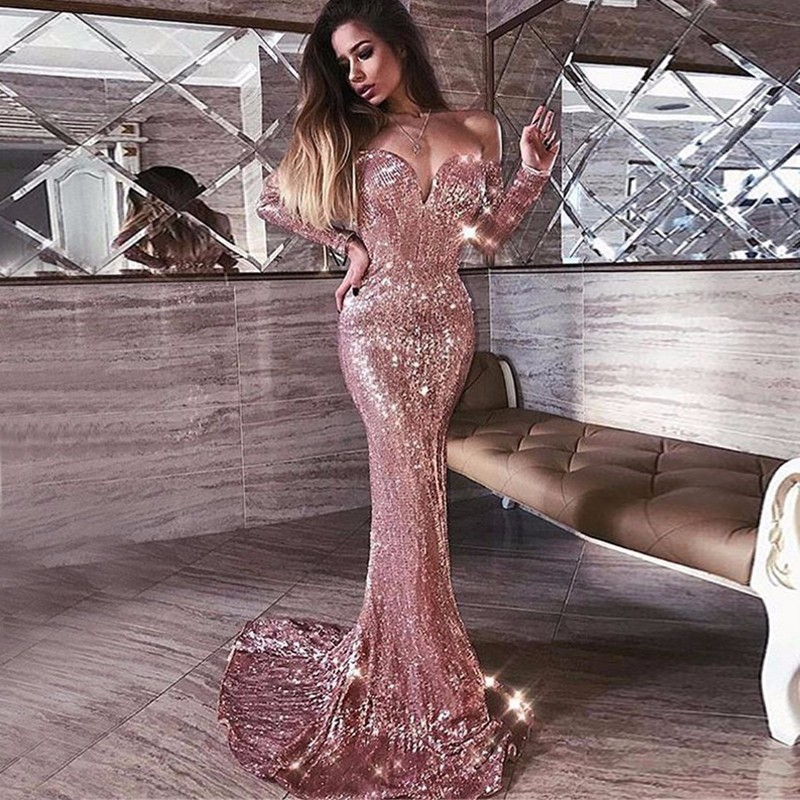 7d1936c09b1867 Αγορά Φορέματα | POFASH Fashion Women Empire Celebrity Party Dresses High  Quality Elegant Long Sleeve Strapless Off Shoulder Maxi Sequin Dress