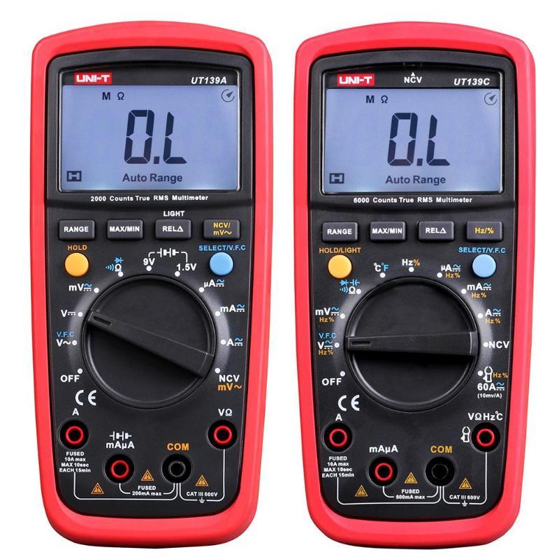 UNI-T Multimeters UT139A UT139C LCD True RMS Digital Multimeters Auto-Range AC DC Voltage Tester true rms digital multimeters uni t ut139a ac dc voltage and current auto range handheld multimeter