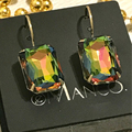 2017 Hot eManco fashion Green opal crystal small drop earrings for women gold plated copper handmade dangle statement earring