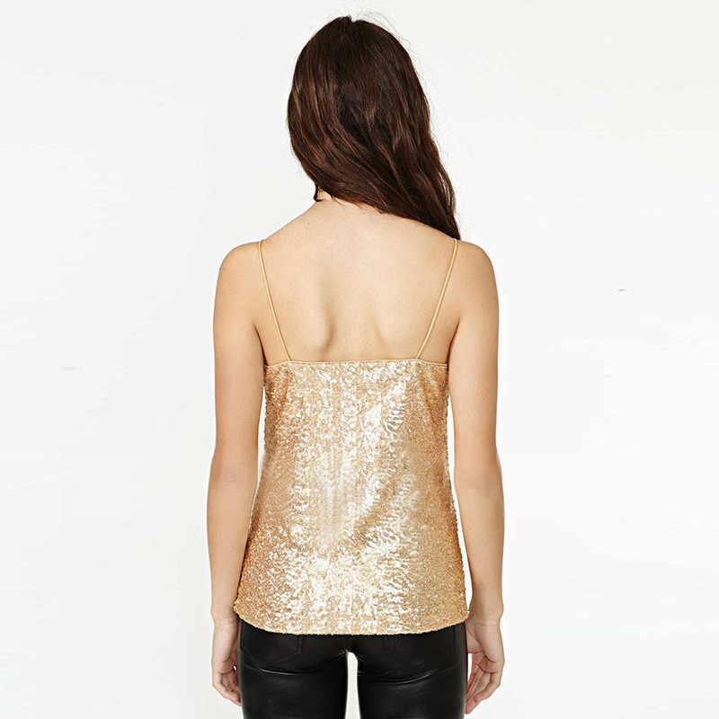 ebcbb0e0e785 ... Sexy Tank Tops Women Gold Sequined V Neck Spaghetti Strap Slim Top Vest  Solid Camis Female ...