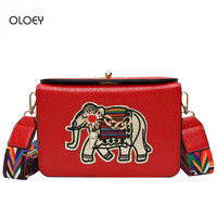 OLOEY New women's box small square bag Elephant embroidery PU wild shoulder bag Wide shoulder strap Messenger bag Box bag