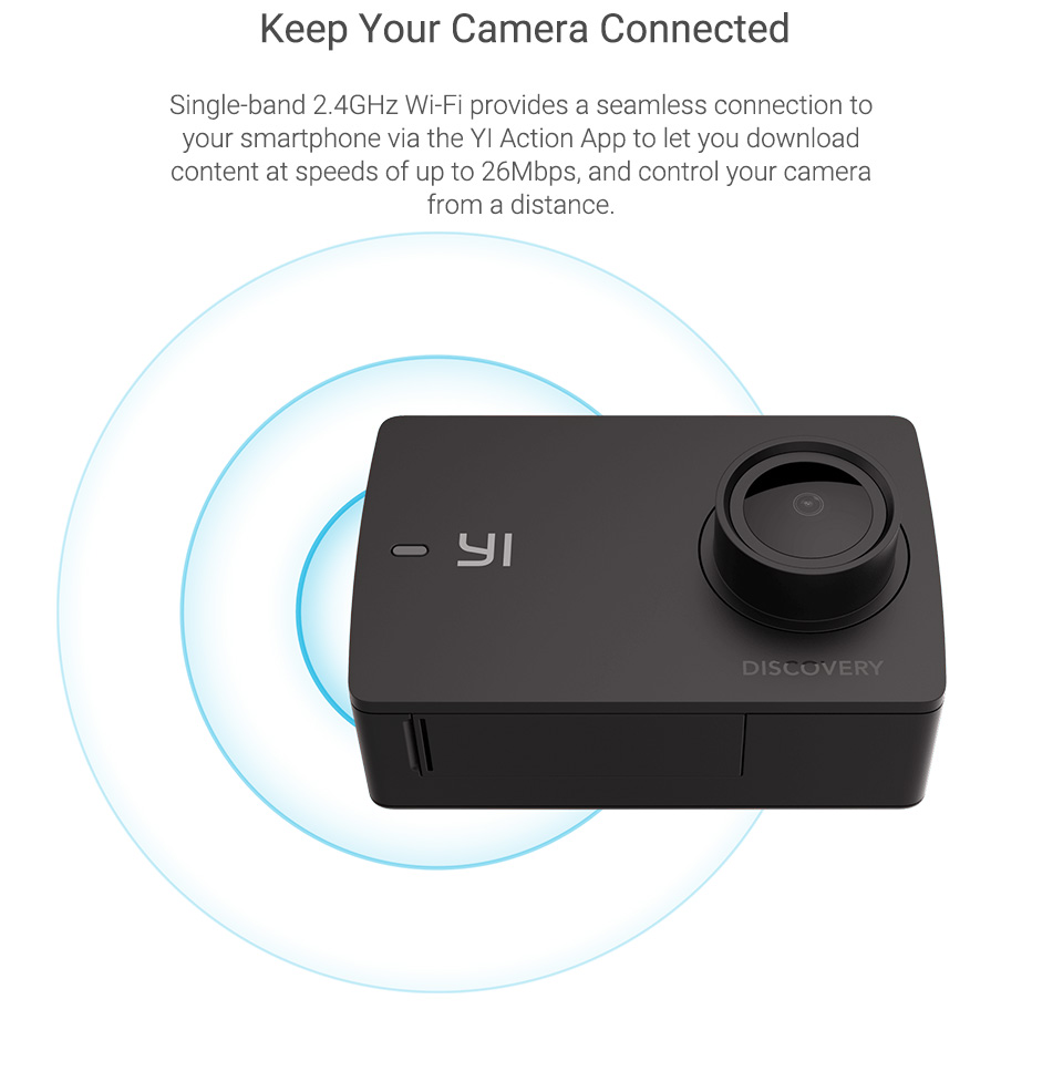 YI Discovery Action Camera 4K 20fps Sports Cam 8MP 16MP with 2 0  Touchscreen Built-in Wi-Fi 150 Degree Ultra Wide Angle
