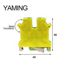 10pcs/lot USLKG3 UK series 800V 34A Yellow and Green Ground Terminal Blocks General Purpose Guide Type UK3N 2.5mm2 Square