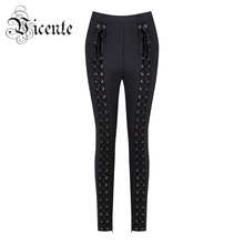 Free Shipping 2018 New Top Fashion Chic Heavy Handwork Lace Up Wholesale Women Bandage Pants Leggings