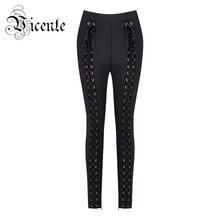 Vicente HOT 2018 New Top Fashion Chic Heavy Handwork Lace Up Wholesale Women Bandage Pants Leggings