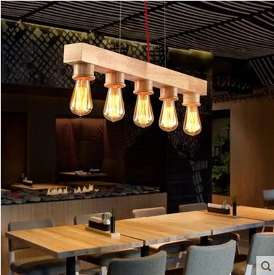 Wooden Edison Pendant Light Fixtures With 5 Lights In Style Loft Vintage Industrial Lighting For Dinning Room Lamparas De Techo regenbogen life эмден 645010401