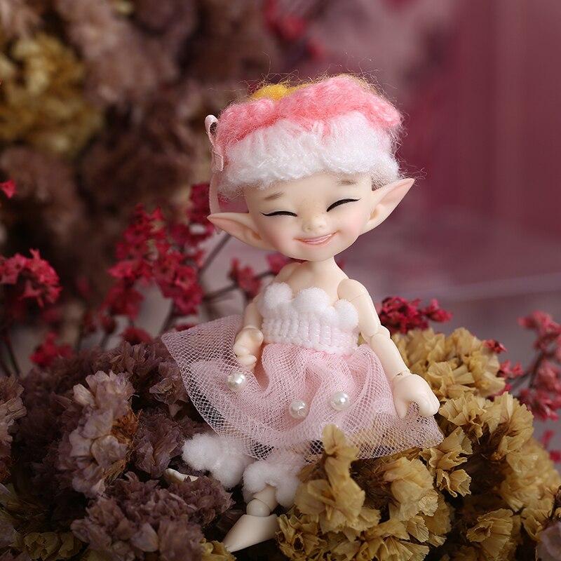 Free Shipping Fairyland FL Realpuki Popo BJD Doll 1/13 Pink Smile Elves Toys