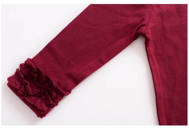 cotton GIRLS solid ruffle shirts ,burgundy olive girls icing raglan shirts