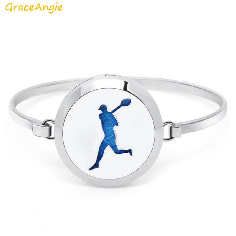 GraceAngie 1PC Real Stainless Steel Hollow Playing Golf Pattern Metal Pendant Bangle Unisex Locket Bracelet Fine Gift for Friend