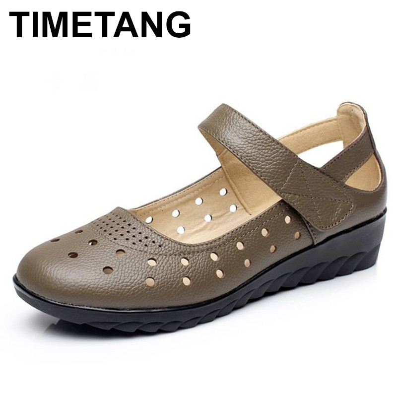 TIMETANG Summer Fashion Shoes Genuine Leather Ladies Sandals Women Cow Leather Hollow Wedges Woman Sandals Plus Size woman sandals shoes 2018 summer style wedges flat sandals women fashion slippers rome platform genuine leather plus size