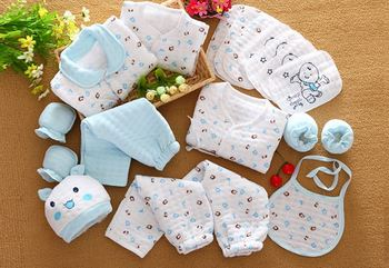 18 Pcs/Set Cotton Newborn Baby Girl Clothes Autumn Winter Baby Boy Clothing Set Cartoon Print New Born Baby Clothes Outfit Gift 2