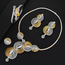SisCathy 4PCS Luxury Gorgeous Drop Earrings Bangle Open Ring Necklace Jewelry Sets for Women Romantic Bridal Wedding Jewelry