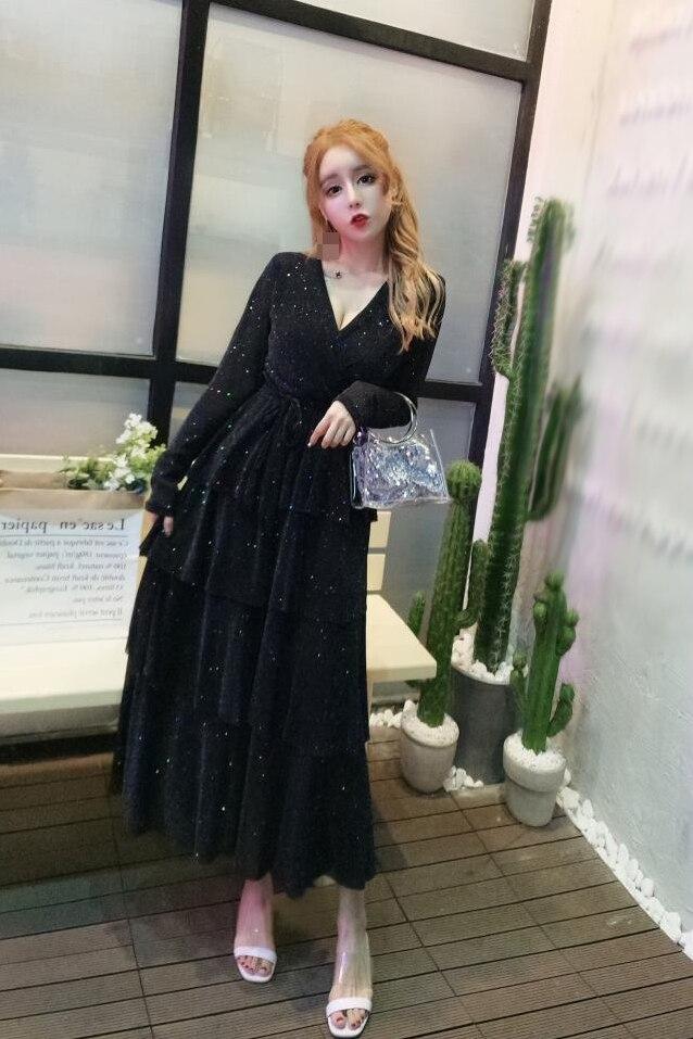 Mesh Sequins Bling Cake Dress Long Vintage Princes Lady Layers Ruffles Dress V Neck Robe Longue Vestido Largo Vestiti Lunga 6