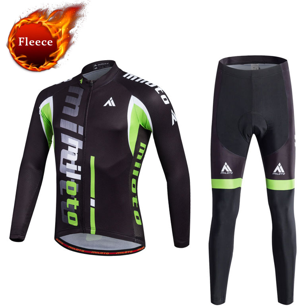 Fleece Men's Long Sleeve Cycling Jerseys Sets Black Mountain Bike Jersey & Pants Sets Thermal Winter Bicycle Clothing Suit dichski cycling jerseys suit mountain bike quick dry breathable winter long sleeve men uv protect riding pants new clothing sets