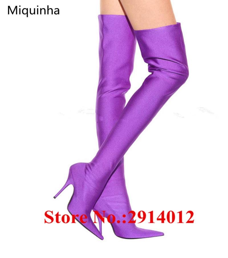 Soie Genou sur Le Talons Extensible Bout Pointu Chaussures Slip as Cuissardes Sur Dames Pistes Pic Bottes Stiletto Mince Satin Pic Sexy As S4ZpqC