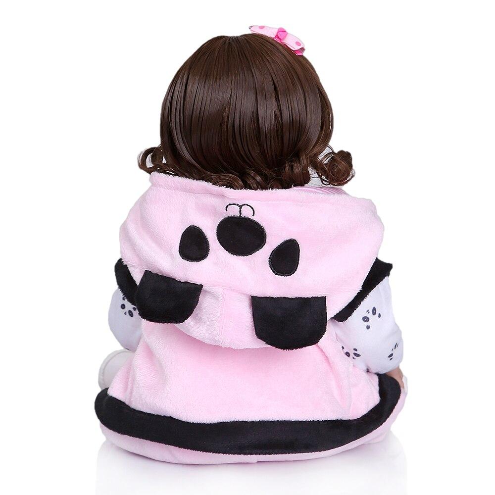 NPK 48 センチメートル新生児ベベ人形リボーン幼児人形女の赤ちゃんパンダドレス全身ソフトシリコーンバス解剖学的に正確  グループ上の おもちゃ & ホビー からの 人形 の中 2