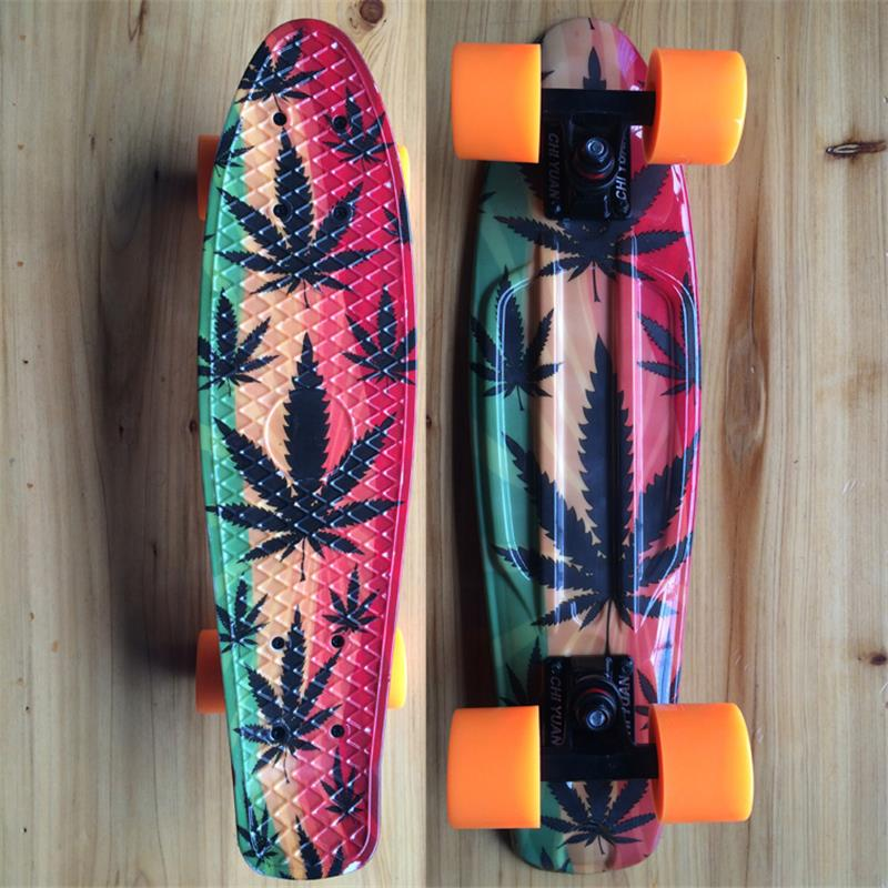 Leaves Graphic Printed Plastic Mini Cruiser Skateboard 22 X 6 Retro Longboard Skate Long Board