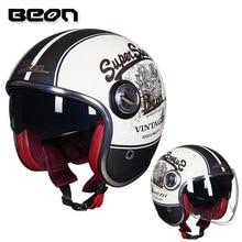 BEON Motorcycle Helmet Motorbike Casco Vintage Moto 3/4 Open Face Capacete Biker  Scooter Retro Double Visor