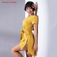 Comfortable Short sleeves Latin Dance Dresses Sexy Backless Dress For Women Latin Ballroom Waltz dancing Practice Costumes