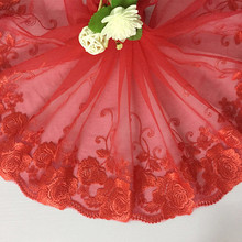 1Yard Red Lace Tulle Elastic Stretch Trim Embroidered 20cm Wide Trimming Sewing DIY Clothes Headband Bra Trims Lace Fabric scallop trim embroidered lace overlay bra