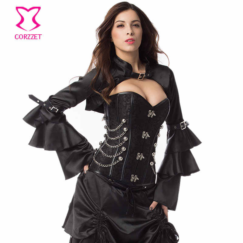 3652e160df ... Black Satin Long Ruffle Butterfly Sleeve Sexy Burlesque Costumes Corset  Accessories Gothic Victorian Jacket Steampunk Bolero ...