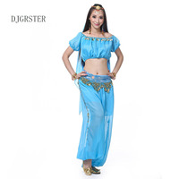DJGRSTER 2017 New Plus Size Belly Dancing Costumes 4Pcs Top Pants Hand Chain Veil Suit Indian
