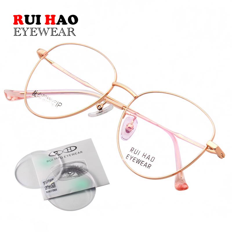 Customize Myopia Eyeglasses Prescription Eyeglasses Women Titanium Spectacles Frame Retro Design Glasses Frame 7756