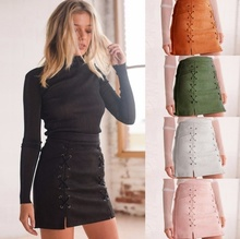 new 5 colors Women's Sexy Velvet Suede Stretch High Waist Pockets Bandage Bodycon Mini Skirt Pack hip skirt A word skirt female yellow suede studded mini skirt
