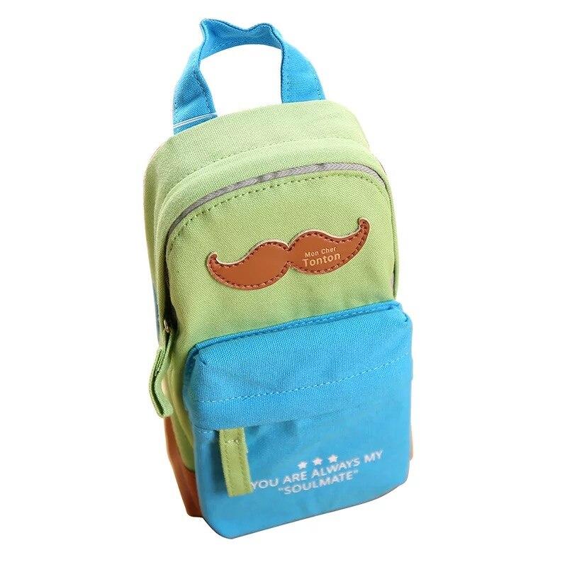 Kawaii moustache papelaria creative korean school supplies material escolar canvas pencil bag pouch pencil box pen pencil case