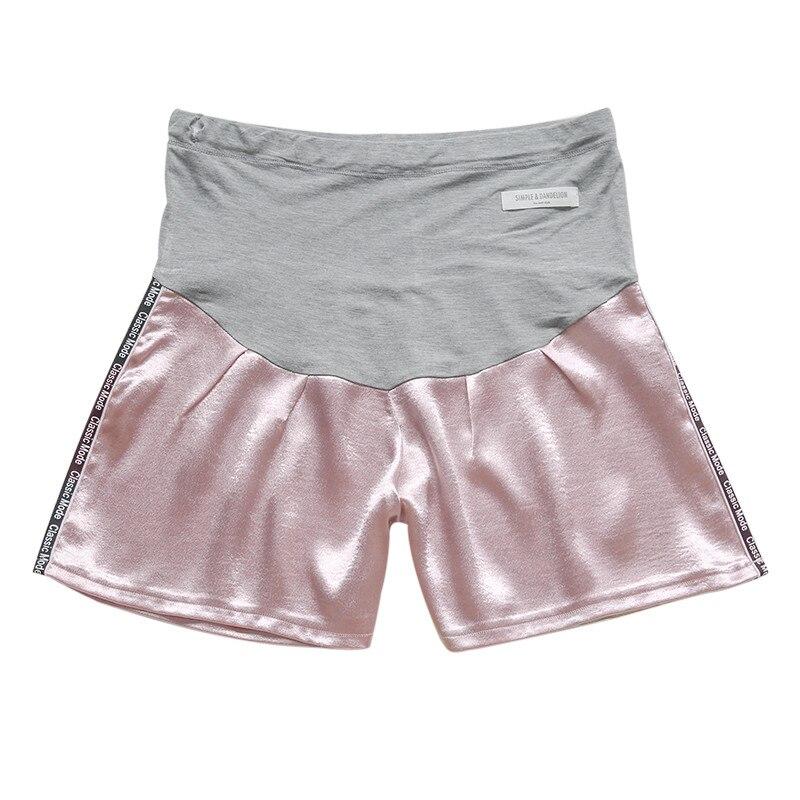 Женские короткие штаны для беременных с беременным шорты, повседневные однотонные штаны с высокой талией для беременных# p40US - Цвет: Розовый