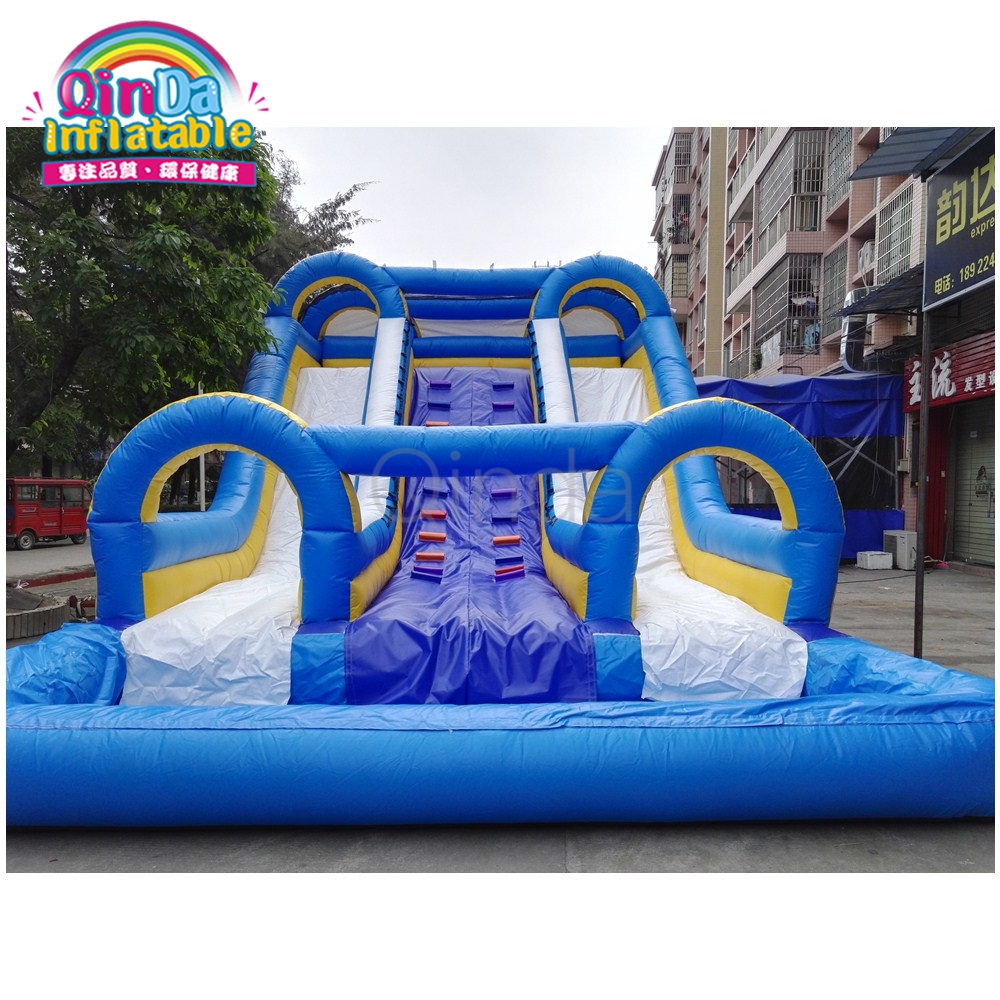Double lane pvc inflatable water slide wtih pool for kids and adults 2017 free shipping hot sale inflatable water slide for kids and adults inflatable water slide with the pool for sale