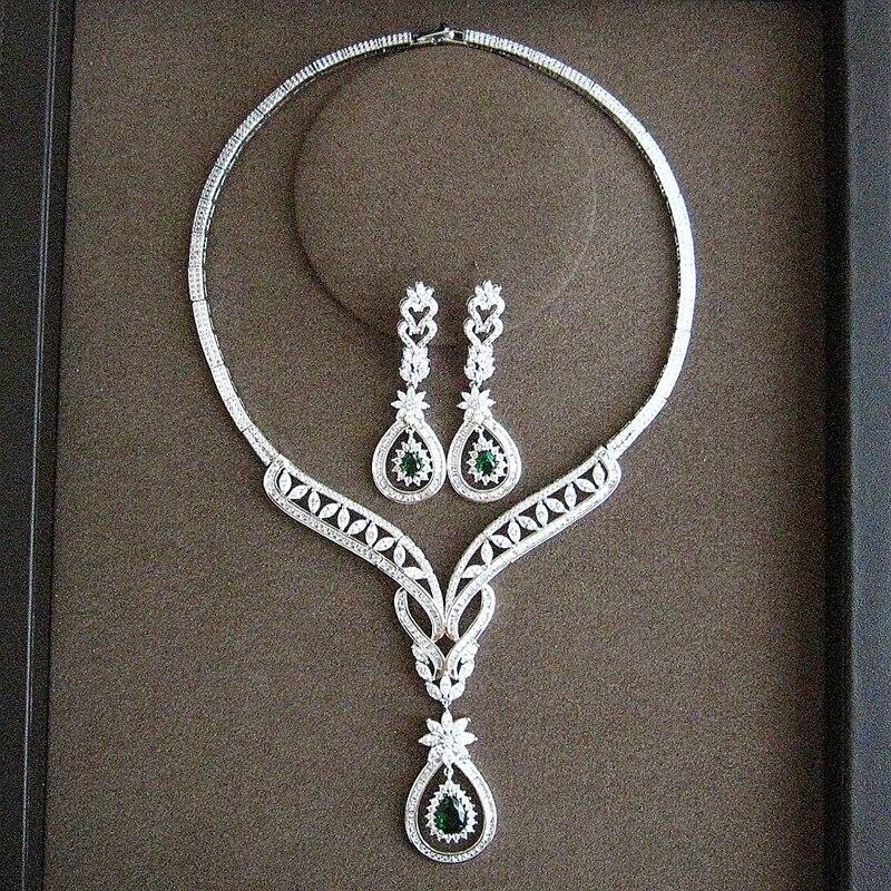 Zircon cubique AAA, boucles d'oreilles et collier classiques et élégants pour femmes, quatre couleurs en option, fête et mariage, SC024