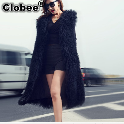 Femmes En Hiver long Gilet Taille Manteau La Fourrure 2019 Fausse Moutons Outwear X Mongolie Plus Noir V699 Rue Manches Sans nWwf18Ap