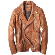 2017 Men Yellow Genuine Italy Leather Motorcycle Jacket Real Sheepskin Oblique Zipper Slim Fit Short Biker Coat FREE SHIPPING