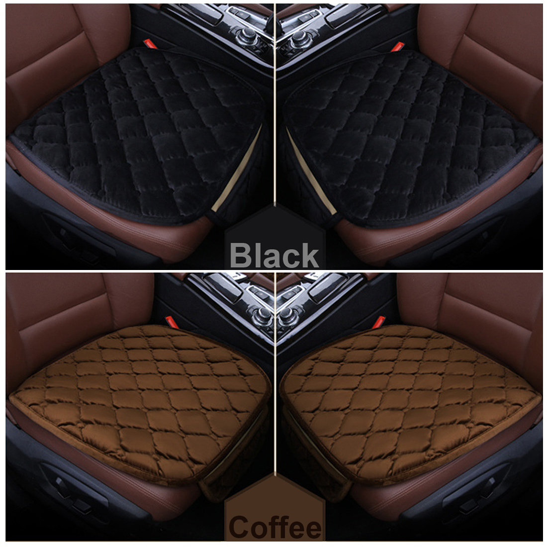 Dewtreetali 1pc Velvet Car Front Seat Cover Chair Pad Breathable Winter Cushion Winter Car Seat Protector Driver Seat