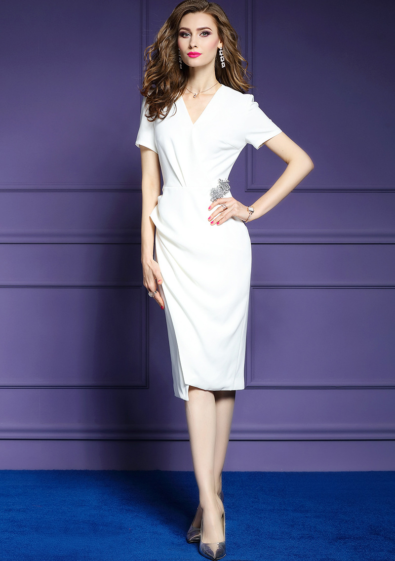 72ab88f03b0bd BIG SALE] Pleated Office Lady Package hip dress 2019 new Spring ...