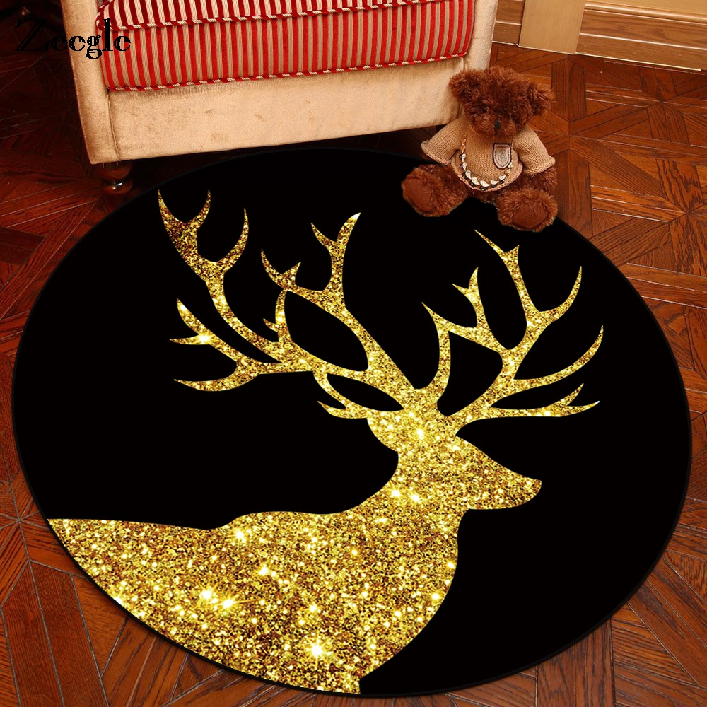 Zeegle Elk imprimé tapis rond pour salon enfants chambre tapis antidérapant ordinateur chaise tapis de sol tapis de porte