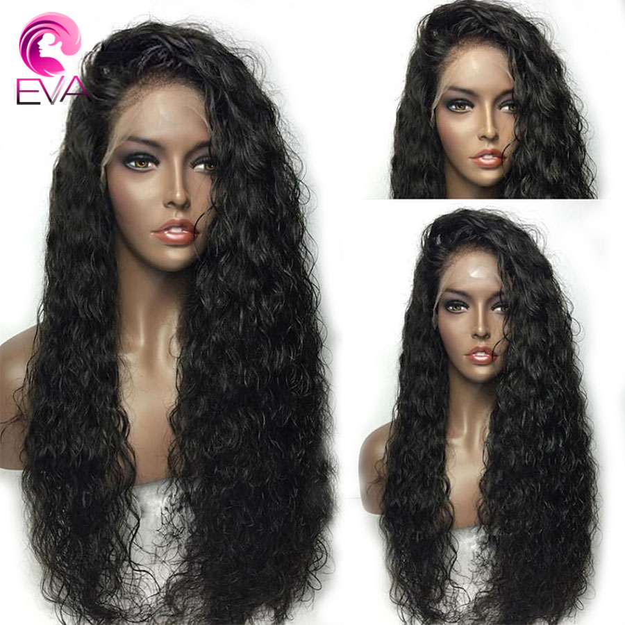 Eva Fake Scalp Water Wave 370 Lace Frontal Human Hair Wigs Pre Plucked With Baby Hair Brazilian Remy Hair Wig For Black Women-in Lace Front Wigs from Hair Extensions & Wigs    1