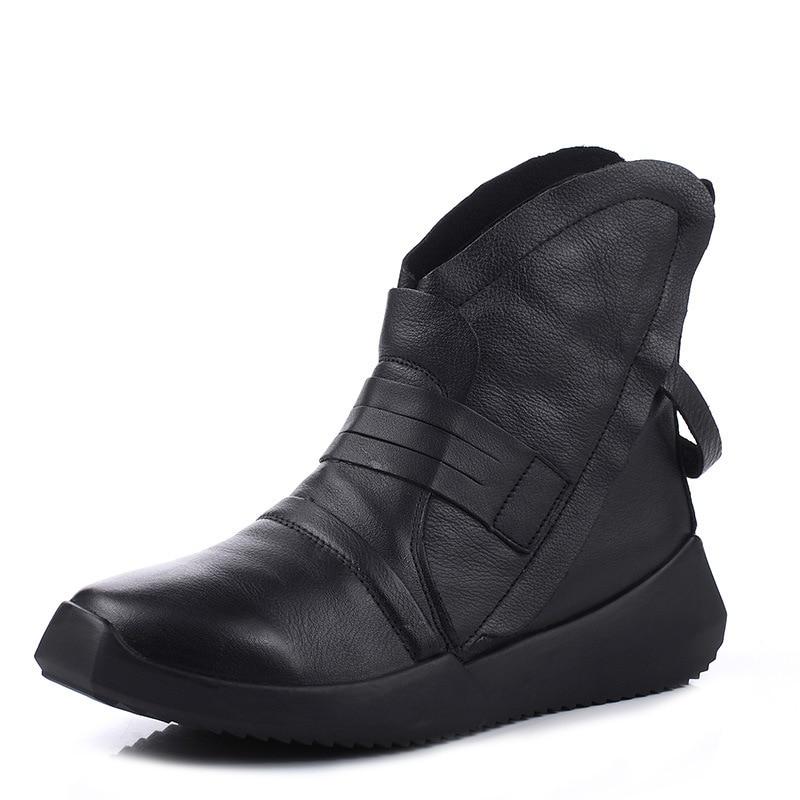 Black forme Bottes L'authenticité D'hiver Cheville black Plus Chaussures Plate De Occasionnel Velvet En Plat Cuir Noir Femme Fourrure Chaussons 7ZI56qxSw