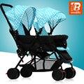 Dianteiro e traseiro dobrável luz gêmeos carrinho de bebê carrinho de mão dupla