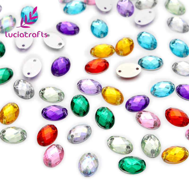 Crafts 200 unids/lote 8*10mm Multi Color plano Cristal Diamantes de imitación coser en Scrapbooking brillantina piedras DIY costura D1107